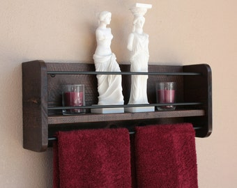Bathroom Shelf With Towel Bar | Bathroom Organizer | Rustic Bathroom Decor | Wall Shelf Storage