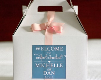 Wedding Welcome Box Bag Sticker Location Hearts