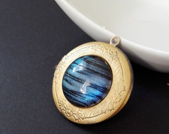 Handpainted Neptune Necklace Space Necklace Geekery necklace Galaxy necklace Galaxy Locket Galaxy Nebula Cosmos Interstellar