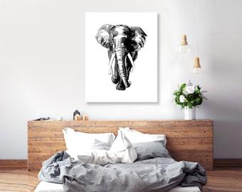 elephant painting, african art print, boyfriend present, bedroom wall art, african decor, African elephant, black white, painting,  16x20
