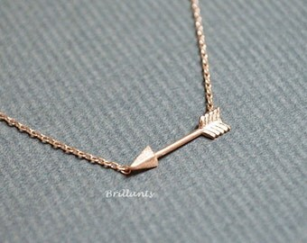 Arrow necklace, Rose gold, Silver, Gold, Bridesmaid jewelry, Everyday necklace, Wedding necklace, Minimal, Simple, Small, Gift
