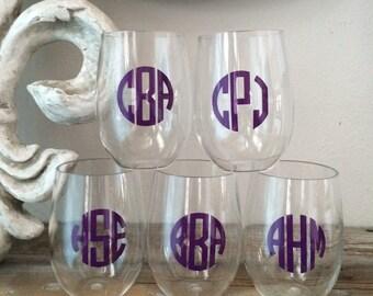 Set of 2 Monogrammed Stemless  Acrylic 16oz. Wine Glasses Personalized Wedding Shower Gift