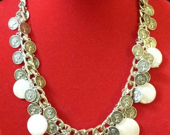 gipsystyle necklace with mother of Pearl and silver coins made in italy Bohemian