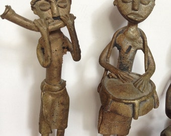 Vintage Brass African Villagers with Instruments