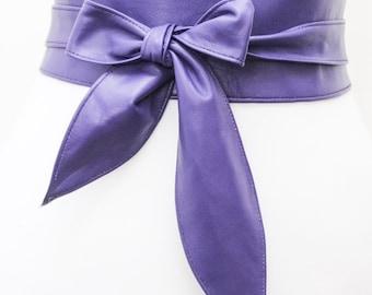 Violet Purple Leather Obi Belt tulip tie| Waist Corset Belt | Real Leather Belt| Handmade Belt | Wrap Belt | Petite to Plus Size