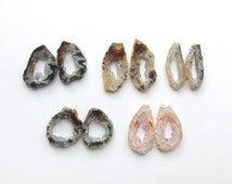 Geode Slice Pair Matching Pair Natural Color Geode for Earrings Geode Slice for Jewelry Making Druzy Slice Drusy Geode Loose Geode Slice
