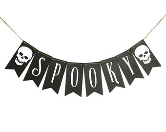 HALLOWEEN BANNER Spooky Decor Indoor Fall Decor Spooky Garland Halloween Garland Halloween Bunting Black Banner Halloween Decor Halloween