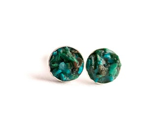 4mm Raw Chrysocolla Earrings. Chrysocolla Earrings. Chrysocolla Studs. Chrysocolla Stud Earrings. Studs. Stud Earrings. Blue Chrysocolla.