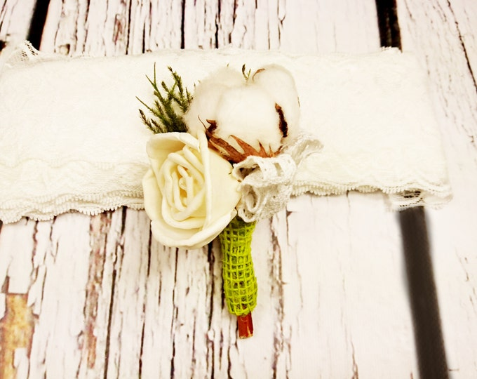 Natural organic raw cotton boll sola flower cypress rustic wedding BOUTONNIERE summer spring woodland lace boho green alternative