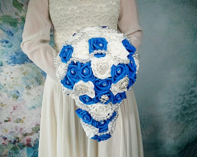 White royal blue foam roses sparkle brooch silver navy flower pearls wedding BOUQUET satin Handle winter wonderland christmas elegant custom