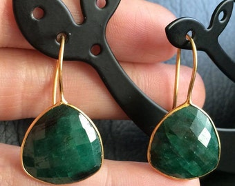 Genuine emerald earrings 24k gold plated