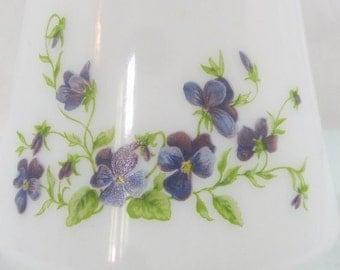 Arcopal pitcher, arcopal jug, violet flower design, retro glassware, floral pitcher, milkglass, breakfast set, French vintage, 1970's retro,