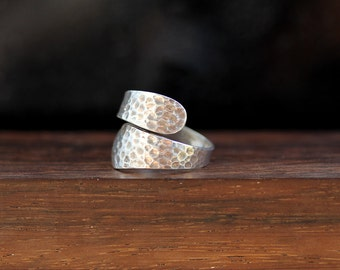 Men's Sterling Silver Ring / Hammered Wrap Ring / size (10)