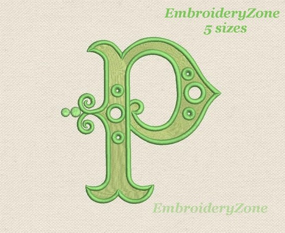Antique monogram letter p from old books embroidery design