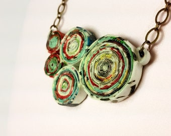 Upcycled Magazine Paper Chunky Necklace, eco friendly necklace, recycled necklace, upcycled necklace, upcycled jewelry, ephemera jewelry