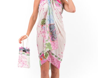 Spirituelle Cotton Beach Dress or Sarong with Matching Carry Bag - Pink Paisley