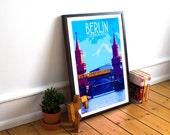 Berlin - Oberbaum Bridge - Landmark Postcard Style Art Print (Available In Many Sizes)