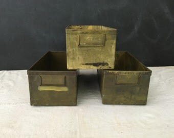 Vintage Industrial Metal Storage Box -  Container - Drawer - Bin - Home Decor - Metal Drawer - Cabinet Drawer