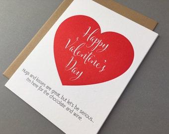 Funny Wine Valentine - Happy Valentine's Day Chocolate and Wine Letterpress Card