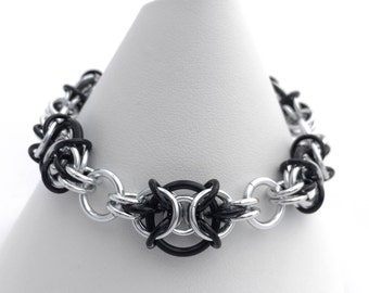 Chainmaille Bracelet - Black and Silver Anodised Aluminium