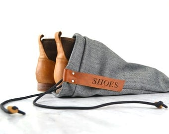 Shoe bag -  handmade with leather tag, great for travel or gym, nice personal gift, sleek design