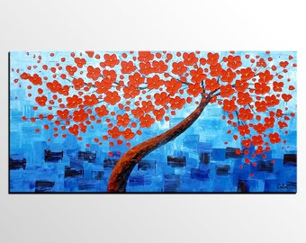 Tree Painting, Flower Painting, Canvas Painting,  Abstract Painting, Abstract Art, Art on Canvas, Large Art, Wall Art, Ready to Hang Art