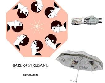Barbra Streisand, umbrella,60s,retro,cute,unique,original illustration,pop art,mod,musical,jewish,actress,umbrellas,rain,hollywood,broadway