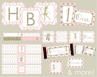 Ballet Party Package. Ballet, Ballerina Birthday. Pink and Gold Ballerina Birthday. Digital Downloads