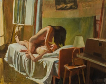 Oil painting, lovers, original oil painting, live models, male female nude, art 40X50