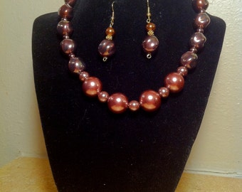 Chocolate Pearl Necklace with Earrings.