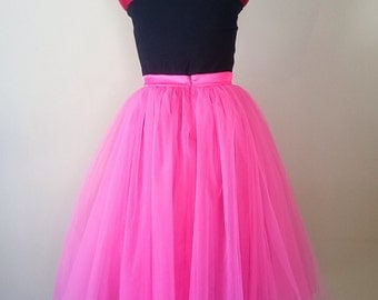 Hot pink tutu, Adult sewn tutu, romantic boho style, country bridal skirt, midi tea length, bridesmaids sets, plus size clothing, satin slip