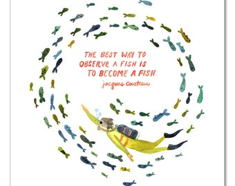 Become A Fish Watercolor Art Print, Jacques Cousteau quote, Hand Lettering, Scuba Wall Art, Nursery Art Print, Girls Room, Boys Room