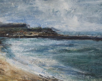 Whitby Harbour and Summer Beach North Yorkshire Coast Signed Limited Edition Coastal Print from Original Landscape Coastal Oil Painting