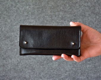 Black Leather Clutch - Womens Wallet, Leather Purse, Clutch Bag, Leather Pouch, Gift For Her