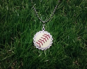 Baseball Necklace- Rhinestone Round