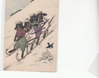 Antique French Postcard,4 Dachshunds Sledding Down The Mountain,Having A Joyous Day