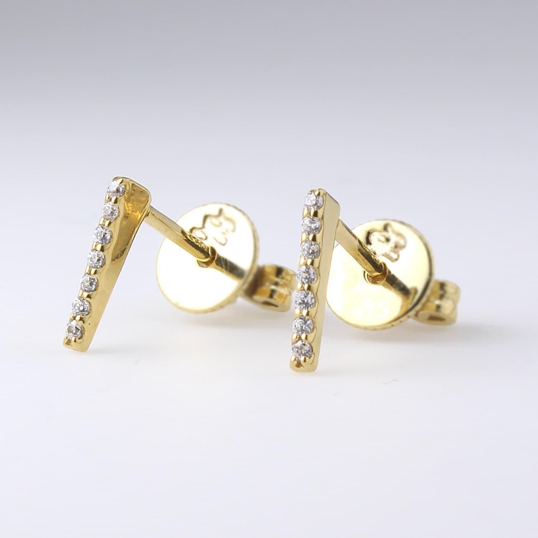 bar stud small simple earrings 14k gold bar studs