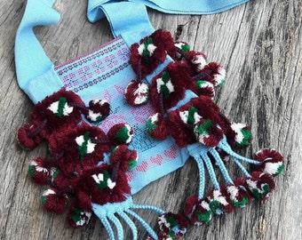Boho bag / Tribal Textile Boho, Karen Boho bag, Hill Tribe Textile Bag With Pom Pom, Shoulder Bag
