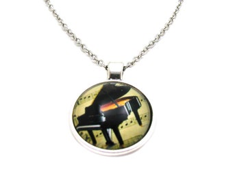 Piano Necklace, Musicians Necklace, Piano Charm, Picture Necklace, Photo Necklace, Grand Piano Necklace, Musical Jewelry, Music Teacher