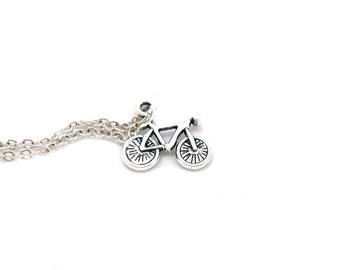 Bicycle Necklace, Charm Necklace, Bike Charm Jewelry, Bike Pendant, Bicycle Charm, Silver Bike Charm, Cyclist Necklace, Gift Under 20