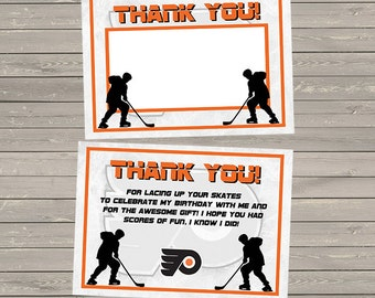 Hockey Instant Download Thank You Cards - orange and black