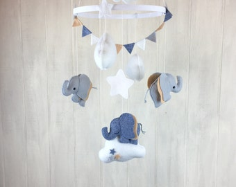 Elephant mobile - baby mobile - cloud mobile - star mobile - clouds and stars - elephant nursery mobile - baby mobiles