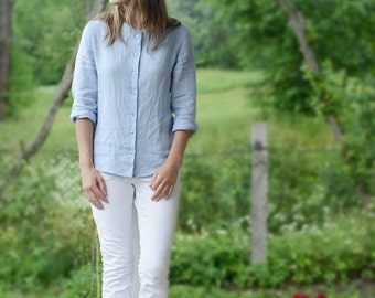 Simple Natural Linen Shirts in different colours. Washed soft linen top, blouse.