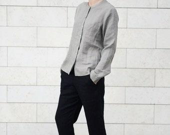Simple Linen Pants. Japanes style trousers. Women pants in black.