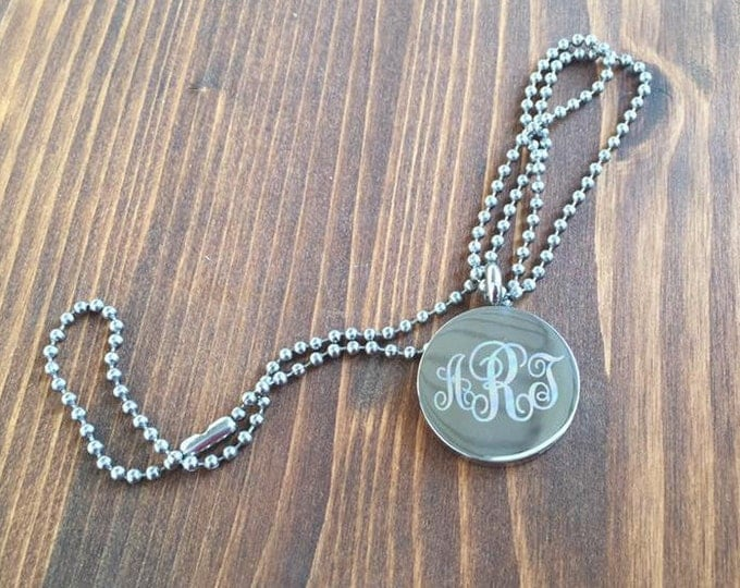 Engraved 3 Letter Curly Monogram Stainless Steel Disc Necklace