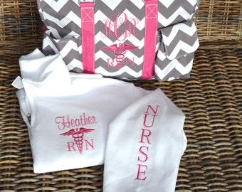 "Utility Tote & Pullover, Nurse's tote, 19"" Gray Chevron Pink Straps  monogrammed"