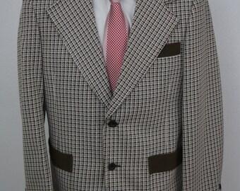 Vintage The Travel Knit Brown Coat Jacket Blazer Houndstooth Crochet Pattern Size 38 Short S