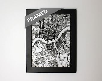 Cincinnati Map, Laser Cut Map, Cincinnati Ohio, FRAMED Map of Cincinnati, Personalized Gift, Cincinnati Street Map, Wall Art, Cincinnati OH