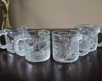 Batman Forever Collectable Glass Mugs Two-Face McDonalds 1995 - Set of 4