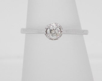 0.30 Carat T.W. Round Diamond Solitaire With Accents Ring 14K White Gold